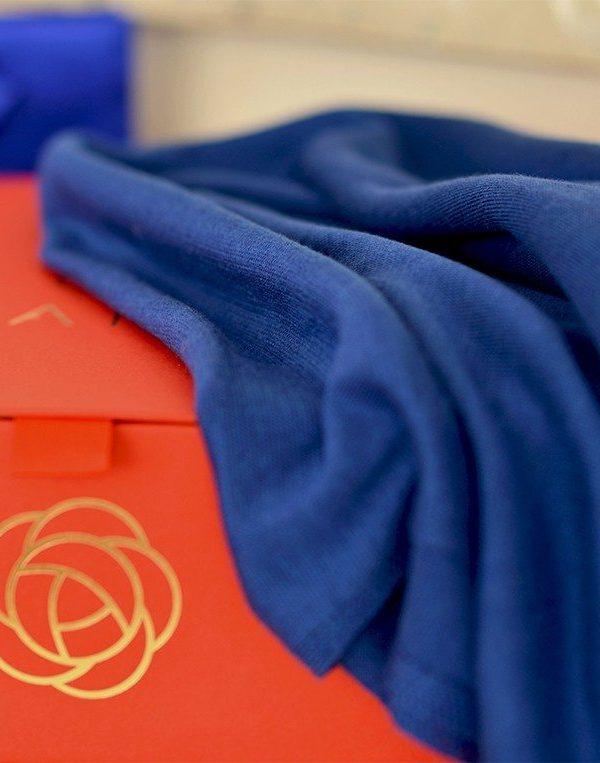 Summer Travel Shawl from Italian Fine Silk Blend Blue