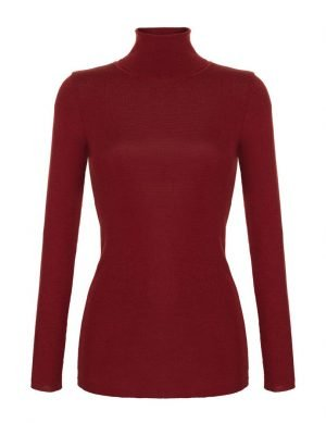 Fine Silk Blend Turtleneck Amber