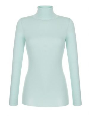 Fine Silk Blend Turtleneck Chrystal