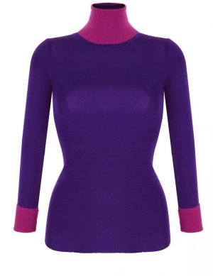 Fine Silk Blend Two Tone Turtleneck Marjolijn