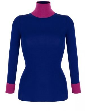 Fine Silk Blend Two Tone Turtleneck Iris