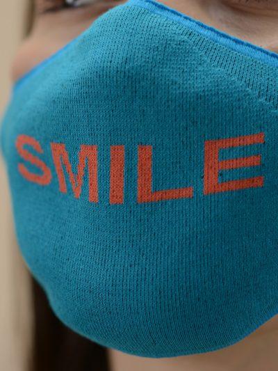 smile face mask teal